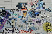 Germany, Berlin, The wall, East side gallery, wall paintíngs and murals about the cold war and walls, Pink Floyd cover The Wall