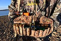 NWA Democrat-Gazette/FLIP PUTTHOFF<br />Duck calls and shotgun shells are standard equipment   Jan. 4 2018   for duck hunting.