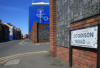 May 8th 2020, Liverpool, United Kingdom;  Everton's Goodison Park stadium during the suspension of the Premier League. A view of a deserted Goodison Road