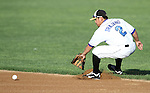 SIOUX FALLS, SD - JULY 18:  Anthony Trajano #2 from the Sioux Falls Canaries fields a ground ball in the first inning of their game against the Gary South Shore Rail Cats Thursday evening at the Sioux Falls Stadium.(Photo by Dave Eggen/Inertia)