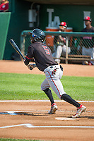 Zach Shields (5) of the Billings Mustangs at bat against the Ogden Raptors in Pioneer League action at Lindquist Field on August 16, 2015 in Ogden, Utah. Billings defeated Ogden 6-3.  (Stephen Smith/Four Seam Images)