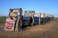 The Cadillac Ranch installation on old Route 66 near Amarillo Texas