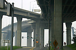 Seattle, West Seattle, West Seattle bridge, Southwest Spokane Street, concrete roadways, overpasses, cyclists, bike trails,