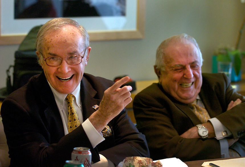"Newton Minow, left, and Abner Mikva speak to ""Public Policy Roundtable"" luncheon--a meeting of an unusual group of policy activists, academics, business and legal leaders with long standing in Chicago."
