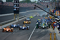 Verizon IndyCar Series<br /> Indianapolis 500 Race<br /> Indianapolis Motor Speedway, Indianapolis, IN USA<br /> Sunday 28 May 2017<br /> Fernando Alonso, McLaren-Honda-Andretti Honda, Alexander Rossi, Andretti Herta Autosport with Curb-Agajanian Honda, Takuma Sato, Andretti Autosport Honda exit as Ed Carpenter, Ed Carpenter Racing Chevrolet finishes his pit stop.<br /> World Copyright: F. Peirce Williams<br /> LAT Images