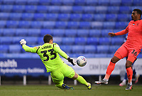 7th July 2020; Madejski Stadium, Reading, Berkshire, England; English Championship Football, Reading versus Huddersfield; Rafael of Reading clears the ball out of play under pressure  from Karlan Grant of Huddersfield