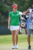 Gaby Lopez (MEX) smiles after sinking her par saving putt on 4 during round 4 of the 2019 US Women's Open, Charleston Country Club, Charleston, South Carolina,  USA. 6/2/2019.<br /> Picture: Golffile | Ken Murray<br /> <br /> All photo usage must carry mandatory copyright credit (© Golffile | Ken Murray)