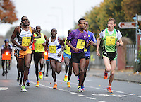 26/10/2015; 2015 SSE Airtricity Dublin Marathon, St Laurence's Road, Dublin. <br /> Alemu Gemechu of Ethiopia leads approaching 11 miles.<br /> Picture credit: Tommy Grealy/actionshots.ie.