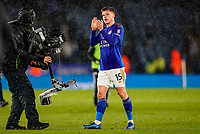 9th March 2020; King Power Stadium, Leicester, Midlands, England; English Premier League Football, Leicester City versus Aston Villa; Harvey Barnes of Leicester City applauds the fans at the final whistle