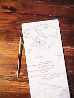 An illustrated Alila Purnama Raja Ampat voyage map by Selin Maner, a Turkish architect