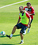 Getafe's Francisco Molinero (l) and Damian Suarez during training session. September 12,2017.(ALTERPHOTOS/Acero)