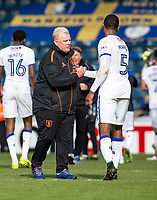 Manager of Mansfield Town Steve Evans congratulates goal scorer and captain Krystian Pearce of Mansfield Town at the final whistle during the Sky Bet League 2 match between Wycombe Wanderers and Mansfield Town at Adams Park, High Wycombe, England on the 14th April 2017. Photo by Liam McAvoy.