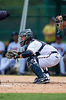 GCL Braves catcher Victor De Hoyos (2) waits to receive a pitch during the second game of a doubleheader against the GCL Yankees West on July 30, 2018 at Champion Stadium in Kissimmee, Florida.  GCL Braves defeated GCL Yankees West 5-4.  (Mike Janes/Four Seam Images)