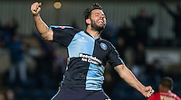 Sam Wood of Wycombe Wanderers celebrates scoring his goal during the Sky Bet League 2 match between Wycombe Wanderers and Crawley Town at Adams Park, High Wycombe, England on 28 December 2015. Photo by Andy Rowland / PRiME Media Images