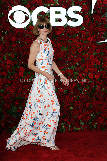 www.acepixs.com<br /> June 12, 2016  New York City<br /> <br /> Anna Wintour attends the 70th Annual Tony Awards at The Beacon Theatre on June 12, 2016 in New York City.<br /> <br /> Credit: Kristin Callahan/ACE Pictures<br /> <br /> <br /> Tel: 646 769 0430<br /> Email: info@acepixs.com