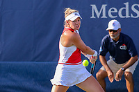 Washington, DC - August 3, 2019:  Catherine McNally (USA) prepares to hit a backhand shot during the  Women Doubles finals at William H.G. FitzGerald Tennis Center in Washington, DC  August 3, 2019.  (Photo by Elliott Brown/Media Images International)