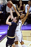 COLUMBUS, OH - MARCH 30: Azura Stevens #23 of the Connecticut Huskies blocks the shot of Jessica Shepard #23 of the Notre Dame Fighting Irish during a semifinal game of the 2018 NCAA Division I Women's Basketball Final Four at Nationwide Arena in Columbus, Ohio. (Photo by Tim Nwachukwu/NCAA Photos via Getty Images)