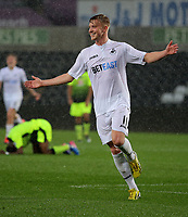 Pictured: Adam King of Swansea City celebrates his second goal Monday 15 May 2017<br /> Re: Premier League Cup Final, Swansea City FC U23 v Reading U23 at the Liberty Stadium, Wales, UK