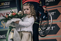 race winner Vincenzo Nibali (ITA/Bahrain-Merida) is celebrated on the podium in Como, while his daughter safe-guards the flowers<br /> <br /> Il Lombardia 2017<br /> Bergamo to Como (ITA) 247km