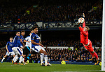 Hector Yuste of Apollon Limassol FC scores the equalising goal past a diving Jordan Pickford of Everton during the Europa League Group E match at Goodison Park Stadium, Liverpool. Picture date: September 28th 2017. Picture credit should read: Simon Bellis/Sportimage