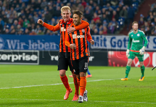 25.02.2016. Gelsenkirchen, Germany.  Shakhtar's Marlos (l) celebrating his 1:0 goal during the Europa League Round of 32 Second Leg soccer match between Schalke 04 and FC Shakhtar Donetsk in the Veltins Arena in Gelsenkirchen, Germany, 25 February 2016.