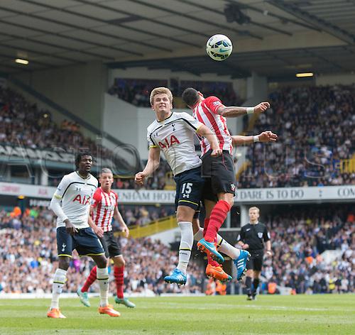 05.10.2014.  London, England. Premier League. Tottenham Hotspur versus Southampton. Tottenham Hotspur's Eric Dier challenges for the header.