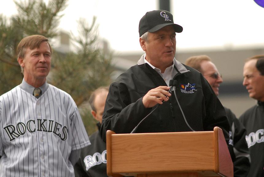 Colorado Governor Bill Ritter (right) and Denver mayor John Hickenlooper attend a downtown Denver event to celebrate the Colorado Rockies 2007 season.