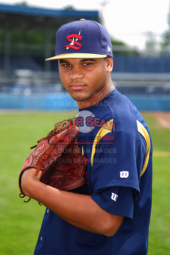 State College Spikes pitcher Joan Montero #53 poses for a photo before a game against the Batavia Muckdogs at Dwyer Stadium on July 7, 2011 in Batavia, New York.  Batavia defeated State College 16-3.  (Mike Janes/Four Seam Images)