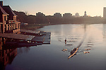 Rowing, Cambridge, Weld Boathouse, Harvard University at dawn, rowers on the Charles River, Cambridge, Massachusetts, New England, USA, Radcliffe women's rowing, Harvard women's crew,.