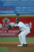 Demetrius Heath of the Rancho Cucamonga Quakes waits for a throw to second base during a 2004 season California League game at The Epicenter in Rancho Cucamonga, California. (Larry Goren/Four Seam Images)