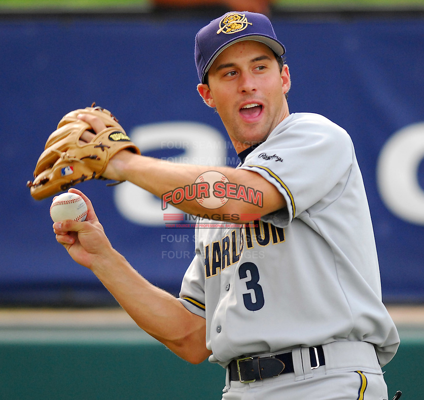 29 May 2007: Chris Carrara of the Charleston RiverDogs, Class A South Atlantic League affiliate of the New York Yankees, in a game against the Greenville Drive at West End Field in Greenville, S.C. Photo by:  Tom Priddy/Four Seam Images