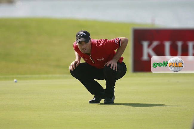 Oliver Wilson (ENG) lines up his putt on the 1st green during Thursday's Round 1 of the Austrian Open presented by Lyoness at the Diamond Country Club, Atzenbrugg, Austria, 22nd September 2011 (Photo Eoin Clarke/www.golffile.ie)