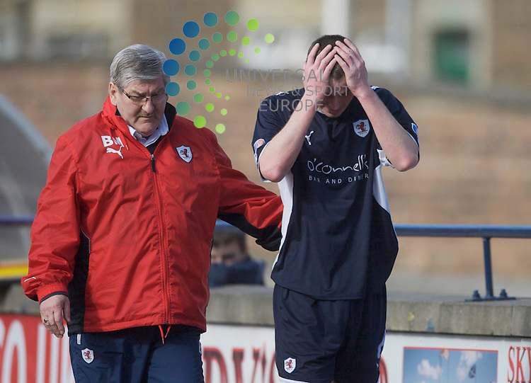 Scottish Irn-Bru First Division Championship Season 2009/10.Raith Rovers Football Club  v  Dunfermline Ath  Football Club.. .Raith's Stephen Simmons after being red carded    , during todays thrilling Fife Derby encounter between Raith Rovers and Dunfermline Ath at Starks Park, Kirkcaldy...Picture, Mark Davison / Universal News and Sport.
