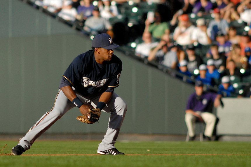 06 June 08: Milwuakee Brewers 2nd baseman Richie Weeks fields a play against the Colorado Rockies. The Rockies defeated the Brewers 6-4 at Coors Field in Denver, Colorado on June 6, 2008. For EDITORIAL use only