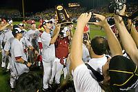 The University of South Carolina baseball team celebrates winning the NCAA Division One Men's College World Series on June 29th, 2010 at Johnny Rosenblatt Stadium in Omaha, Nebraska.  (Photo by Andrew Woolley / Four Seam Images)