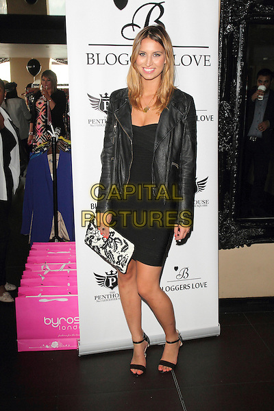 Fern McCann<br /> Bloggers Love Fashion Party at the Penthouse Club, Leicester Square, London, England.<br /> August 22nd 2013<br /> full length black dress leather jacket white clutch bag<br /> CAP/ROS<br /> &copy;Steve Ross/Capital Pictures