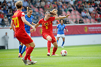 20180904 - LEUVEN , BELGIUM : TINE DE CAIGNY, ALINE ZELER pictured during the female soccer game between the Belgian Red Flames and Italy , the 8th and last game in the qualificaton for the World Championship qualification round in group 6 for France 2019, Tuesday 4 th September 2018 at OHL Stadion Den Dreef in Leuven , Belgium. PHOTO SPORTPIX.BE | STIJN AUDOOREN