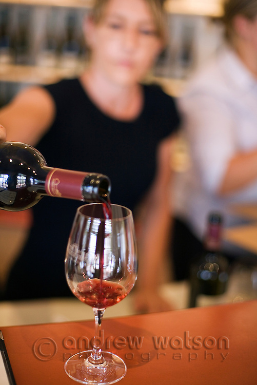 Wine tasting at the Pipers Brook Vineyard cellar door.  Pipers River, Tasmania, Australia