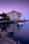 Evening light over the Casino Building and water in Avalon Harbor, Catalina Island, California
