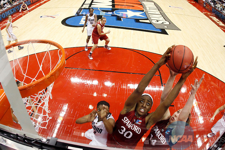 06 APR 2010:  Nnemkadi Ogwumike (30) of Stanford University grabs a rebound against the University of Connecticut during the Division I Women's Basketball Championship held at the Alamodome in San Antonio, TX.  Connecticut defeated Stanford 53-47 for the national title.  Jamie Schwaberow/NCAA Photos