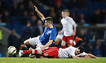 Fraser Aird tackled by Jim Ervin