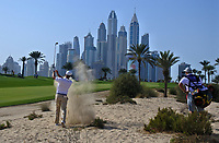 Bryson Dechambeau (USA) in the sand on the 8th during Round 3 of the Omega Dubai Desert Classic, Emirates Golf Club, Dubai,  United Arab Emirates. 26/01/2019<br /> Picture: Golffile | Thos Caffrey<br /> <br /> <br /> All photo usage must carry mandatory copyright credit (© Golffile | Thos Caffrey)