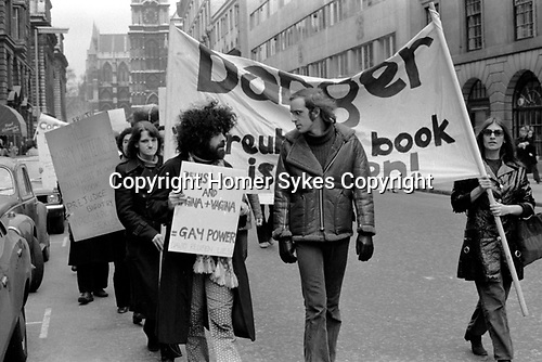 """Gay Liberation Front. Demonstration by Gay and Lesbian activists against Pan books. Central London 1971. Sex Doctor David Reuben publication of his book """"Everything You Always Wanted To Know About Sex"""", which suggested that all gay men were """"obsessed with shoving vegetables up their ..."""""""