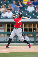 Steve Lombardozzi (2) of the Indianapolis Indians follows through on his swing against the Charlotte Knights at BB&T BallPark on June 20, 2015 in Charlotte, North Carolina.  The Knights defeated the Indians 6-5 in 12 innings.  (Brian Westerholt/Four Seam Images)