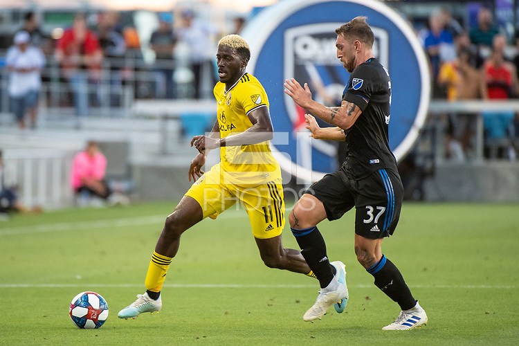 San Jose, CA - Saturday August 03, 2019: Gyasi Zardes #11, Guram Kashia #37 in a Major League Soccer (MLS) match between the San Jose Earthquakes and the Columbus Crew at Avaya Stadium.