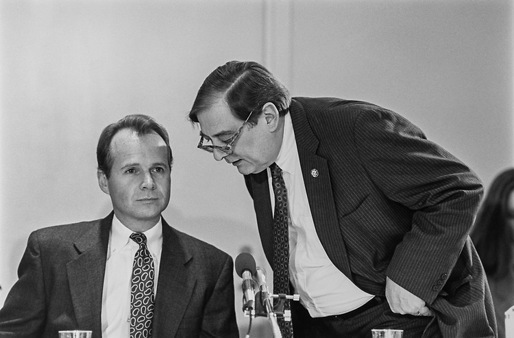 Rep. David Dreier, R-Calif., and Rep. Bill Emerson, R-Mo., on the Capitol Hill, on Feb. 25, 1993. (Photo by Laura Patterson/CQ Roll Call via Getty Images)