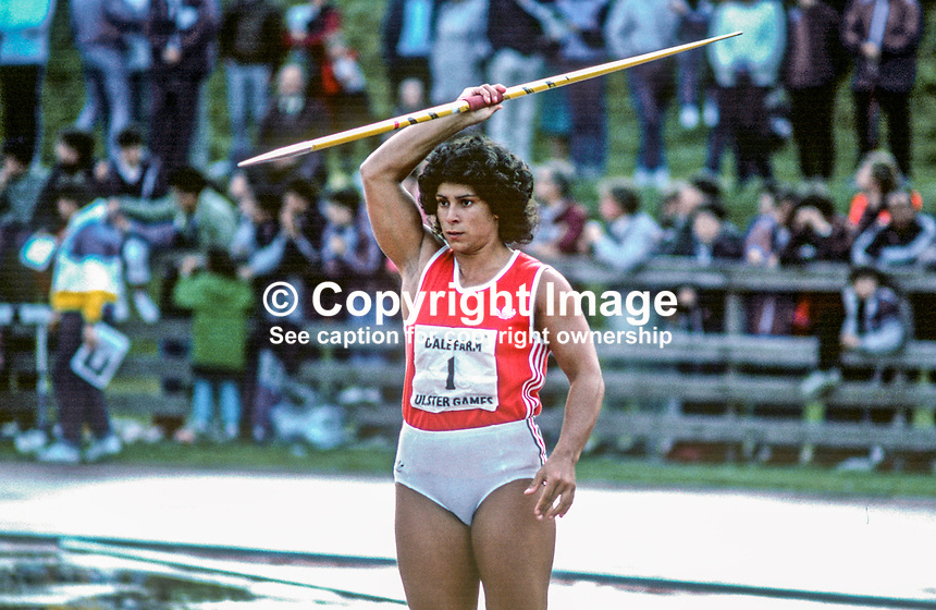 Fatima Whitbread, England, javelin thrower, competitor, Dale Farm Games, Mary Peters Track, Belfast, N Ireland, 19850614FW1..Copyright Image from Victor Patterson, 54 Dorchester Park, Belfast, UK, BT9 6RJ..Tel: +44 28 9066 1296.Mob: +44 7802 353836.Voicemail +44 20 8816 7153.Skype: victorpattersonbelfast.Email: victorpatterson@me.com.Email: victorpatterson@ireland.com (back-up)..IMPORTANT: If you wish to use this image or any other of my images please go to www.victorpatterson.com and click on the Terms & Conditions. Then contact me by email or phone with the reference number(s) of the image(s) concerned.