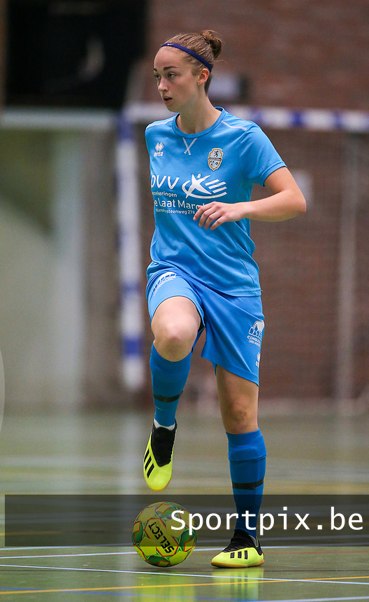 20190915– HALLE , BELGIUM : FP Halle-Gooik Girls A player Camille Vanhoorne-Ramboer is pictured during the Belgian Women's Futsal D1 match between FP Halle-Gooik A and FP Halle-Gooik B on Sunday 15th 2019 at the De Bres Sport Complex in Halle, Belgium. PHOTO SPORTPIX.BE | Sevil Oktem