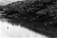 Del Valle Reservoir at very low water level, 1987  &#xA;<br />