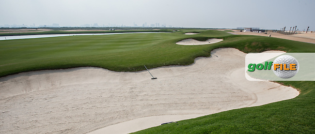 View of the right-side bunkers on the 5th fairway  at Al Zorah Golf Club, Dubai, United Arab Emirates.  26/01/2016. Picture: Golffile | David Lloyd<br /> <br /> All photos usage must carry mandatory copyright credit (&copy; Golffile | David Lloyd)